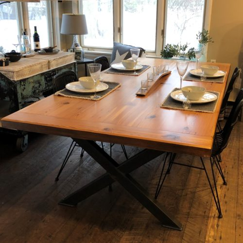 Dining Table in Antique Heart Pine with Steel X Base
