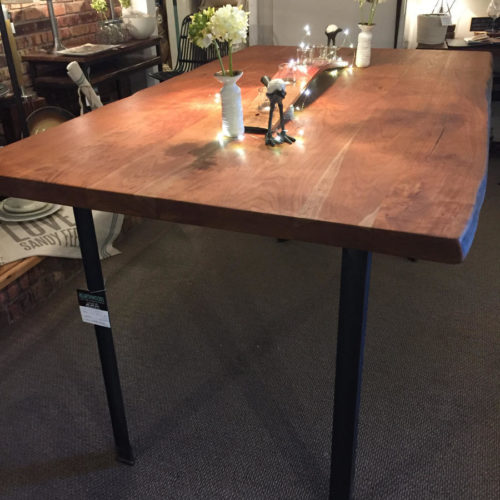Dining Table in Counter Height -   Natural Edge Cherry with Steel Angle Iron Base
