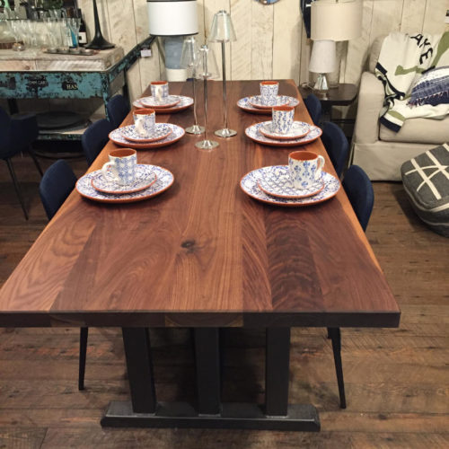 Dining Table in Re-Purposed Rustic Walnut with Steel Arts and Crafts Style Base