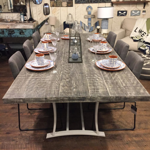 Dining Table in Sassafras with Driftwood Grey Finish and Custom Steel Base Powder Coated White