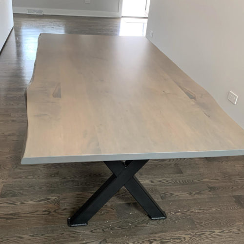 Dining Table Live Edge Maple with Pewter Finish and Steel X Base