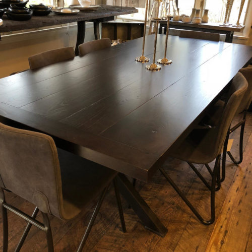 Dining Table Plank Style in Reclaimed Ash with Ebony Stain and Steel X Base
