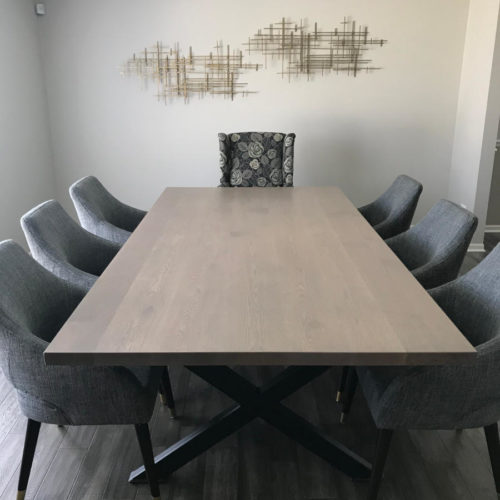 Dining Table White Oak with Smoky Oak Finish and Steel X Base
