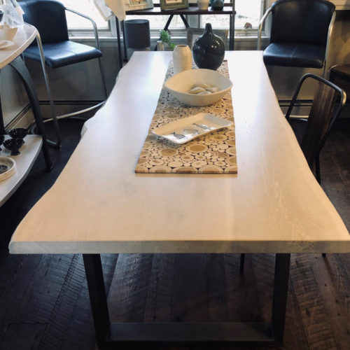 Dining Table with Live Edge Maple Top, Cashmere Finish and Steel U Base