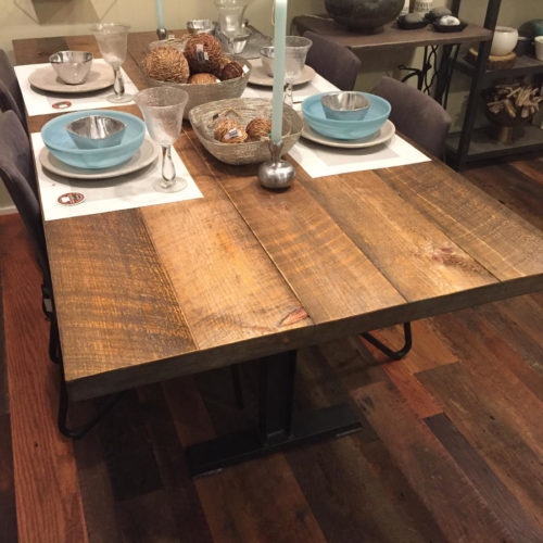 Dining Table with Weathered White Pine Baton Top and Steel I-Beam Base