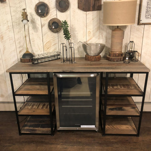 Double Shelf Bar Unit for Beverage Fridge- Reclaimed Pine with Steel Frame. Fridge NOT included