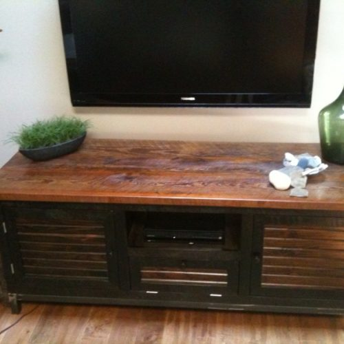 Entertainment Cabinet in Antique Reclaimed Pine and Steel Frame