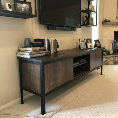 Entertainment Console in Elm with Steel Frame