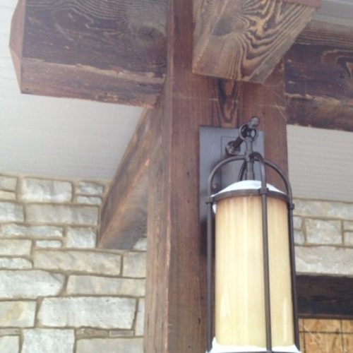 Exterior Beams in Antique Reclaimed Pine with Outdoor Finish