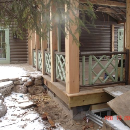 Exterior Porch Railing in Painted Cedar