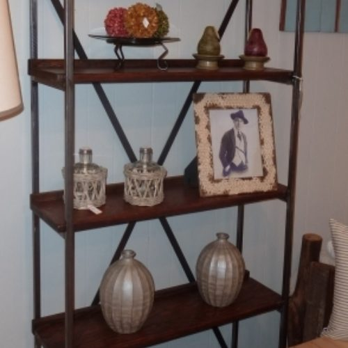 Five Tier Shelving Unit Steel and Reclaimed Bleacher Seat Shelves