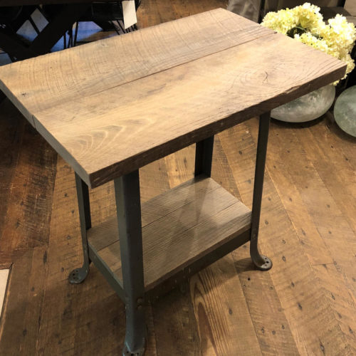 Hallway Table with Reclaimed Granary Oak and Vintage Steel Base