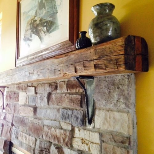 Hand Hewn Mantle with Steel Brackets