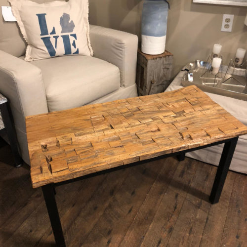 Hand Hewn Top Coffee Table with Steel Base