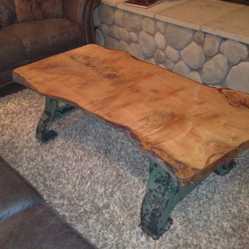 Coffee Table with Vintage Industrial Base and Natural Edge Maple Top