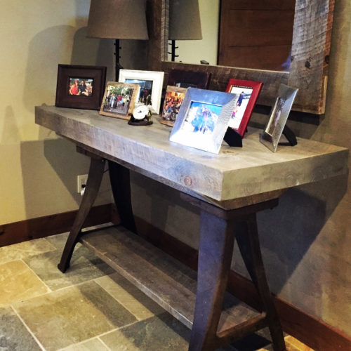 Console Table with Reclaimed Weathered White Pine and Vintage Industrial Base