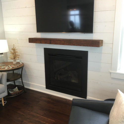 Mantle from Reclaimed Antique Pine Barn Beam