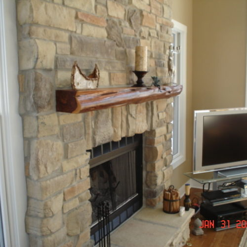 Mantle in Re-Purposed Cedar with Glossy Finish