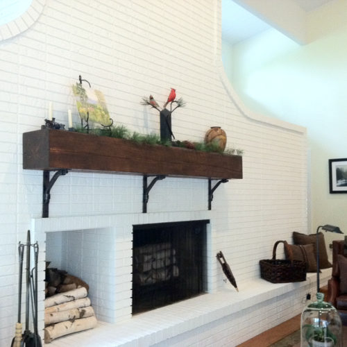 Mantle in Weathered White Pine with Walnut Stain