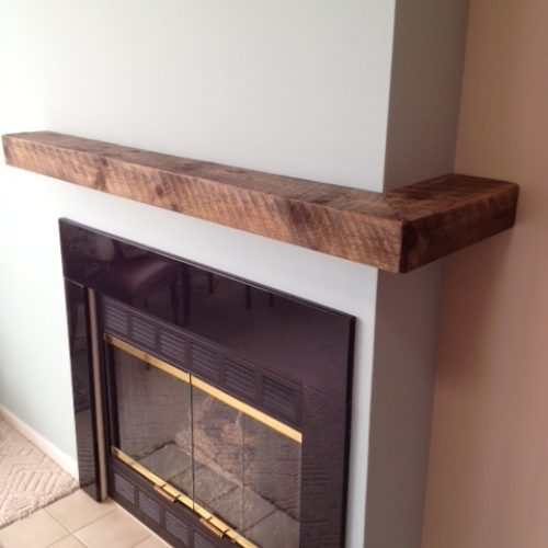 Mantle Wrap in Reclaimed Weathered White Pine