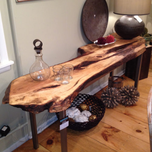 Console Table with Natural Edge Maple Slab and Tubular Steel Base