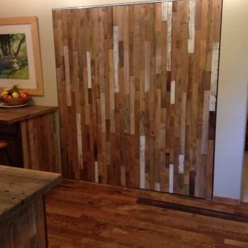 Mixed Barn Wood Paneling on Bi-Fold Doors