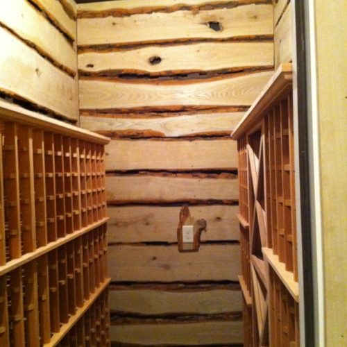 Natural Edge Sassafras Wine Cellar Paneling