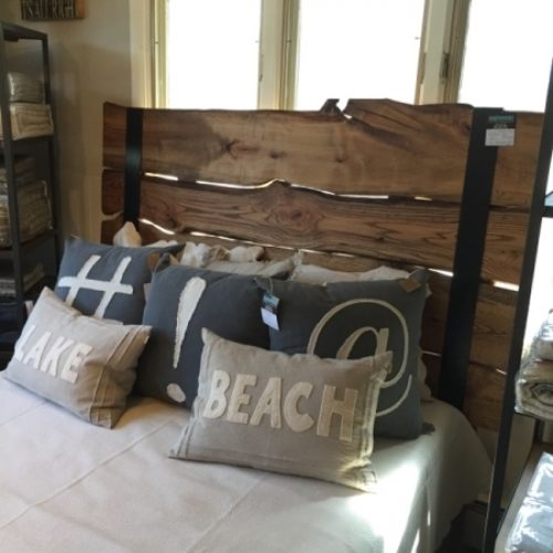 """Natural Edge Slab Headboard with Metal Strapping Queen Size 64""""H"""
