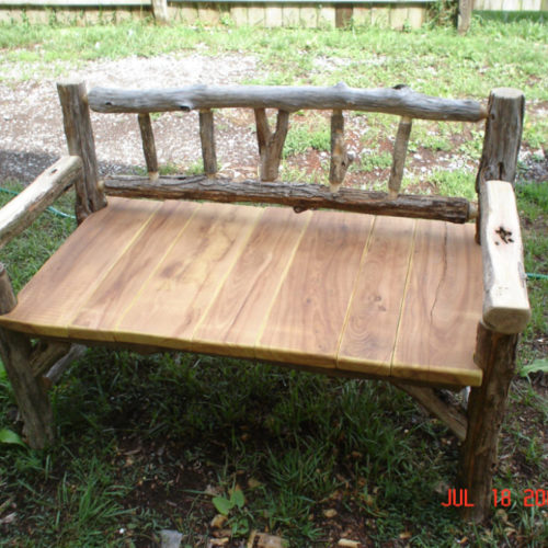 Outdoor Bench in Ancient Black Locust and Osage Orange Seat Slats