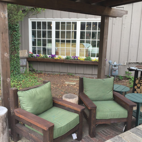 Outdoor Club Chairs in Reclaimed Oak with Standard Outdoor Cushions
