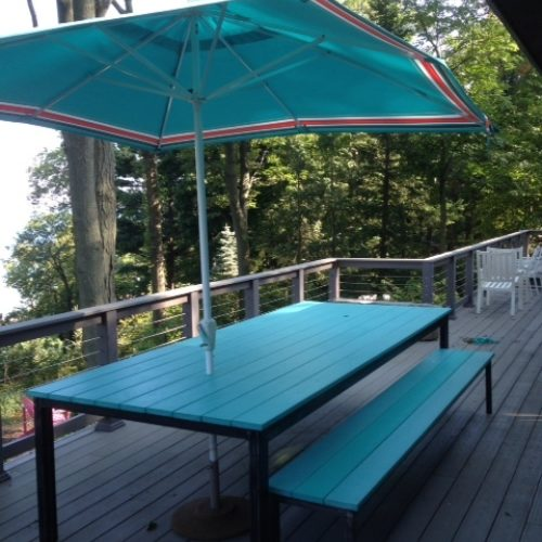 Outdoor Dining Table in Composite Material (20 Colors) with a Powder Coated Steel Base