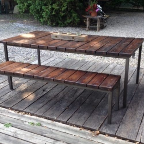 Outdoor Table and Bench in Weather-Treated Antique Heart Pine and Powder Coated Steel Base