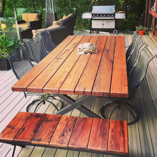 Outdoor Table and Benches in Redwood with Steel Base