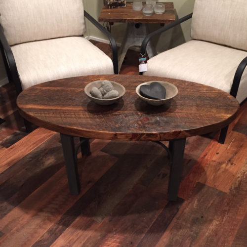 Oval Coffee Table with Steel Base and Weathered White Pine Top