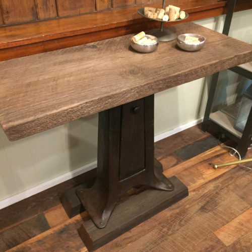 Pedestal Console Table with Vintage Cast Iron Base, Hidden Door and Reclaimed Wood Top