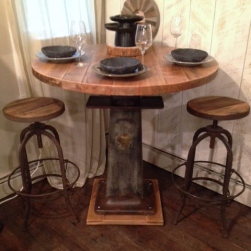 Dining tablesboardroom tables hearthwoods pub table with vintage industrial base and antique reclaimed maple top watchthetrailerfo