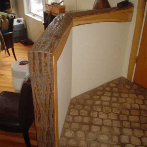 Railing Trim in Black Oak with Bark