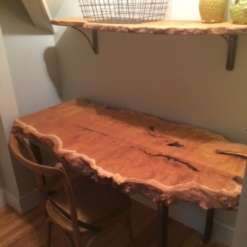 Re-purposed Mulberry Slab Desk and Shelf with Steel Base and Brackets