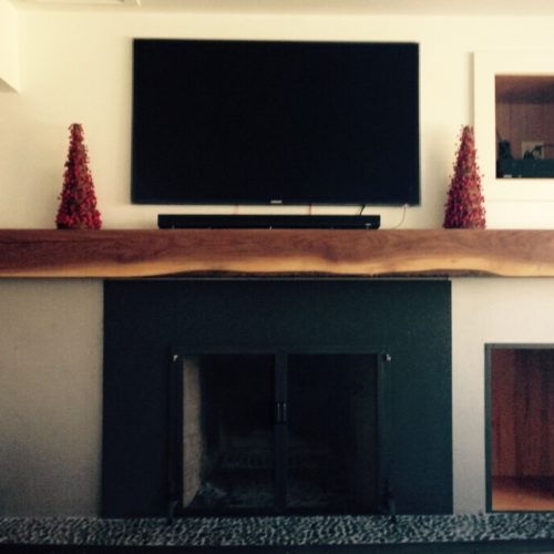 Re-Purposed Walnut Beam Mantle