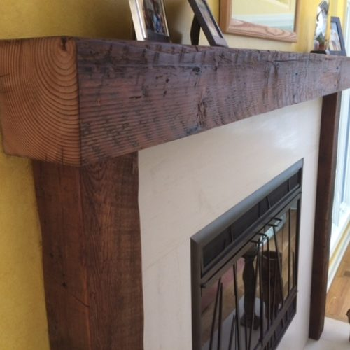 Reclaimed Antique Pine Mantle and Posts