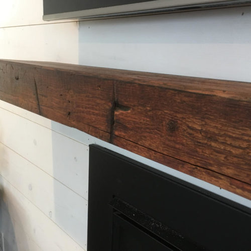 Mantle from Reclaimed Pine Barn Beam