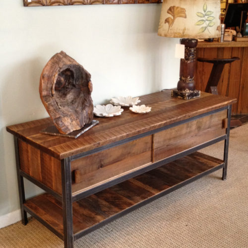 Entertainment Cabinet in Reclaimed Antique Heart Pine with Steel Frame