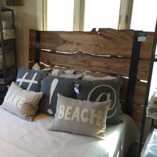 Reclaimed Natural Edge Slab Headboard with Metal Strapping