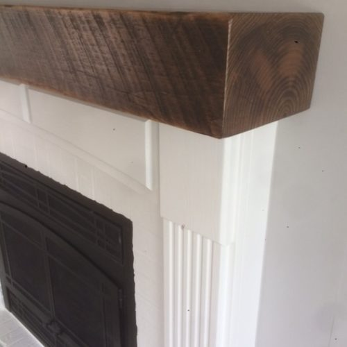 Reclaimed Rough Sawn Weathered White Pine Mantle with Dark Walnut Stain