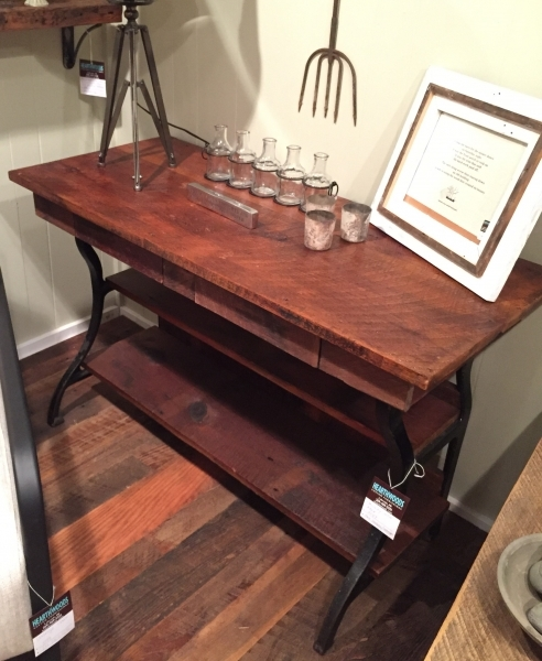 Item 95 Reclaimed Wood Hall Table With Drawers And Antique Cast Iron Base