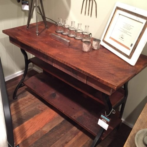 Reclaimed Wood Hall Table with drawers and Antique Cast Iron Base