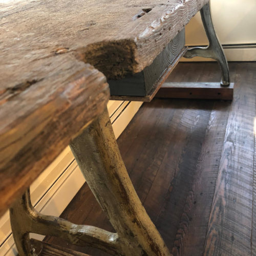 Reclaimed Wood Plank Console/Buffet with Antique Case Iron Base