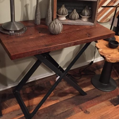Reclaimed Wood Table with Steel X Base