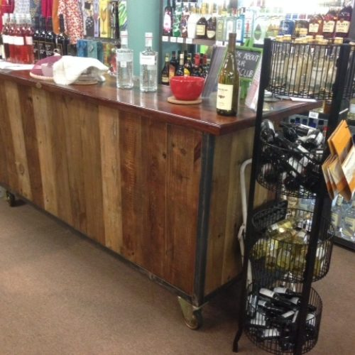 Rolling Bar in Reclaimed Barn Wood with Antique Reclaimed Redwood Top