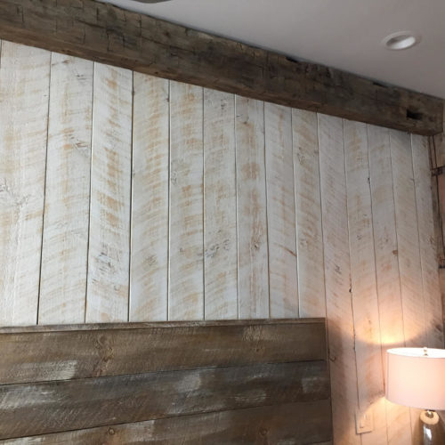 Rough Sawn Weathered White Pine Paneling with White Wash